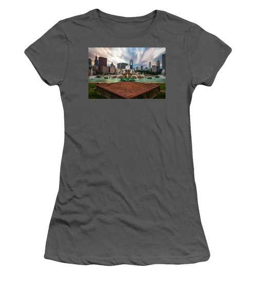 Women's T-Shirt (Junior Cut) featuring the photograph Chicago's Buckingham Fountain by Sean Foster