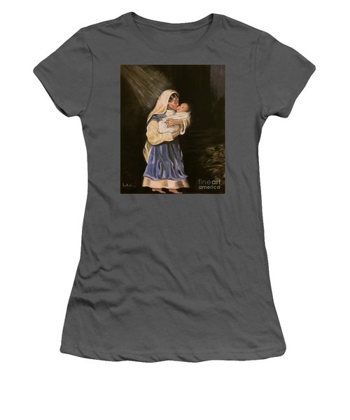 Women's T-Shirt (Junior Cut) featuring the painting Child In Manger by Brindha Naveen