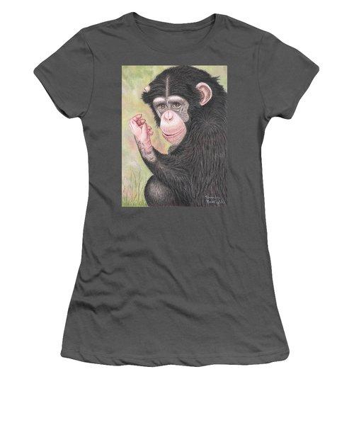 Chimpanzee Women's T-Shirt (Junior Cut) by Brenda Bonfield
