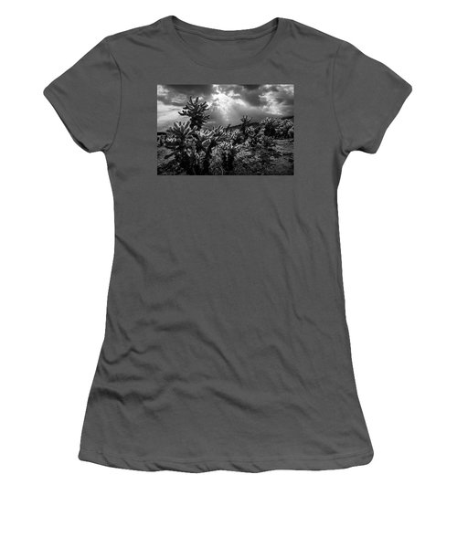 Women's T-Shirt (Junior Cut) featuring the photograph Cholla Cactus Garden Bathed In Sunlight In Black And White by Randall Nyhof