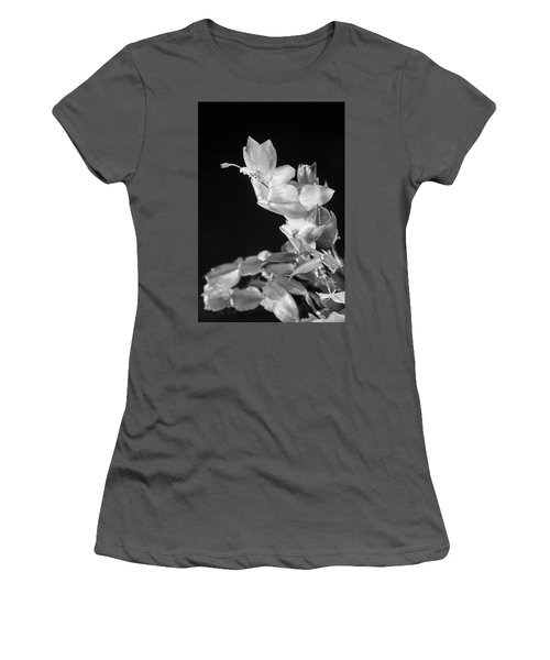 Christmas Cactus On Black Women's T-Shirt (Junior Cut) by Ed Cilley