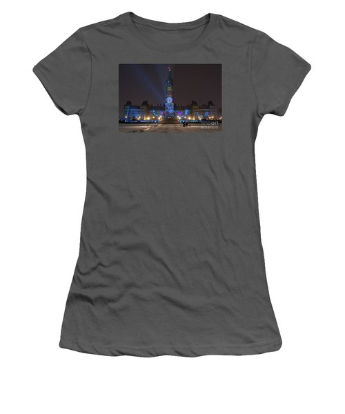 Women's T-Shirt (Junior Cut) featuring the photograph Christmas Lights Across Canada.. by Nina Stavlund