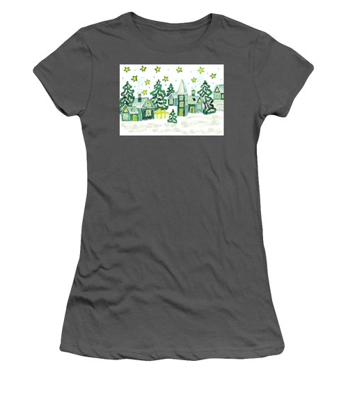 Christmas Picture In Green Women's T-Shirt (Junior Cut) by Irina Afonskaya