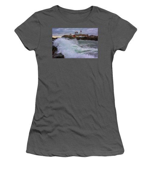 Churning Seas At Cape Neddick Women's T-Shirt (Junior Cut) by Rick Berk