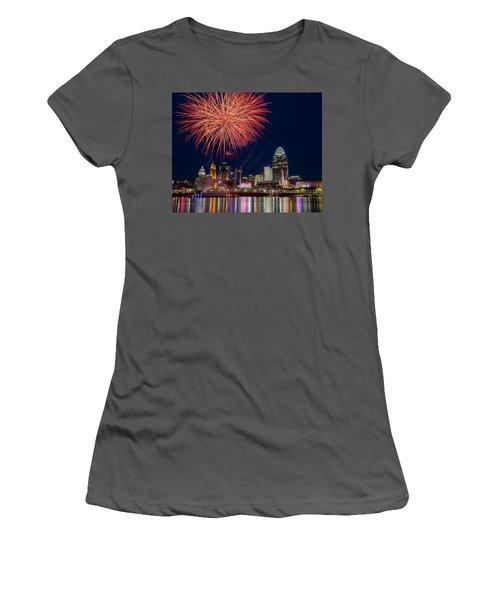 Cincinnati Fireworks Women's T-Shirt (Junior Cut) by Scott Meyer
