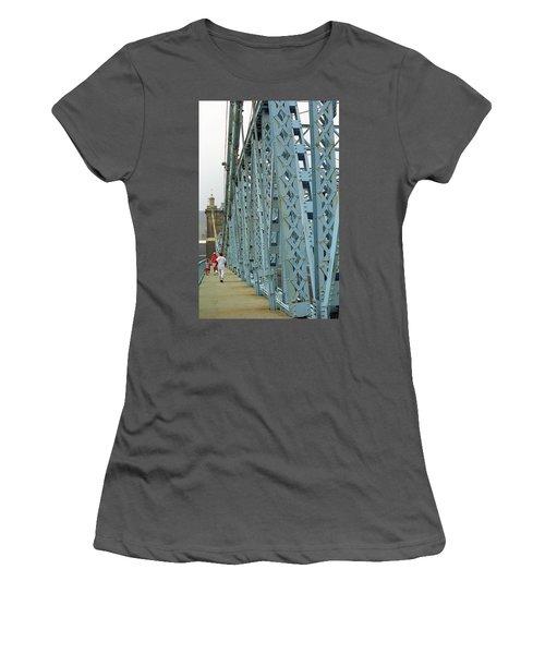 Cincinnati - Roebling Bridge 3 Women's T-Shirt (Junior Cut) by Frank Romeo