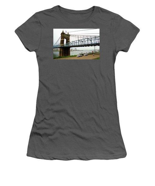 Cincinnati - Roebling Bridge 5 Women's T-Shirt (Junior Cut) by Frank Romeo