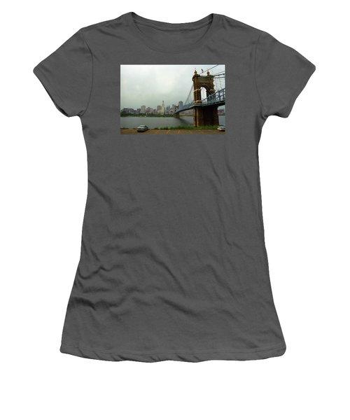 Cincinnati - Roebling Bridge 6 Women's T-Shirt (Junior Cut) by Frank Romeo