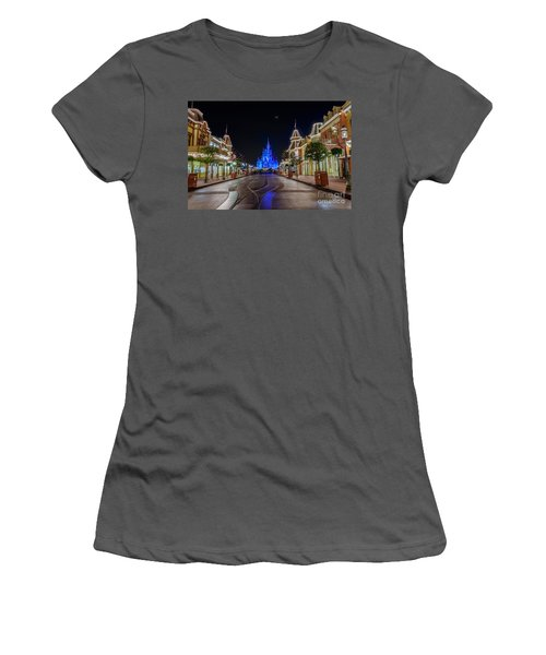 Cinderella Castle Glow Over Main Street Usa Women's T-Shirt (Athletic Fit)