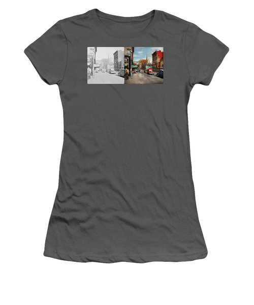 Women's T-Shirt (Junior Cut) featuring the photograph City - Amsterdam Ny - Downtown Amsterdam 1941- Side By Side by Mike Savad
