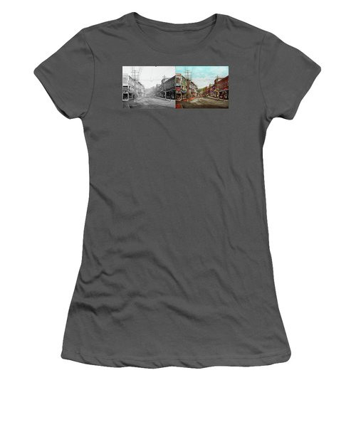 Women's T-Shirt (Athletic Fit) featuring the photograph City - Ma Glouster - A Little Bit Of Everything 1910 - Side By Side by Mike Savad