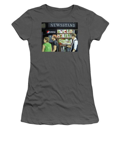 Women's T-Shirt (Junior Cut) featuring the painting City Newsstand - People On The Street Painting by Linda Apple