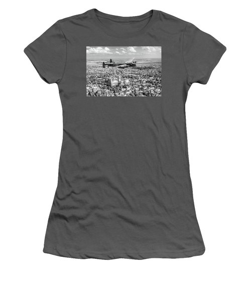 Women's T-Shirt (Athletic Fit) featuring the photograph City Of Lincoln Vn-t Over The City Of Lincoln Bw Version by Gary Eason