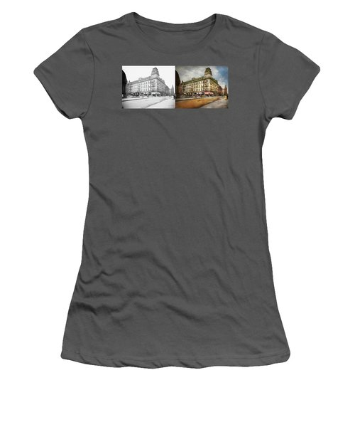 Women's T-Shirt (Athletic Fit) featuring the photograph City - Toledo Oh - Got A Boody Call 1910 - Side By Side by Mike Savad