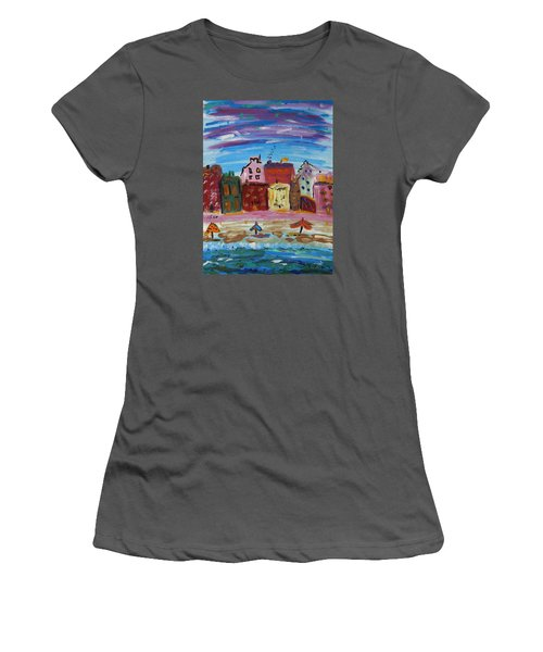 City With A Pink Boardwalk Women's T-Shirt (Junior Cut) by Mary Carol Williams