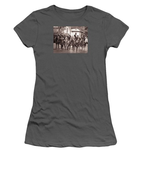 Civil War Soldiers On Horses Women's T-Shirt (Junior Cut) by Rena Trepanier