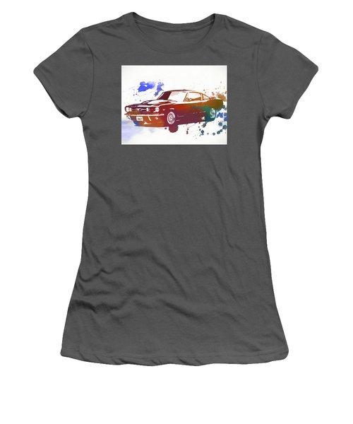 Classic Ford Mustang Watercolor Splash Women's T-Shirt (Junior Cut) by Dan Sproul
