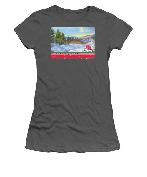 Women's T-Shirt (Athletic Fit) featuring the painting Classic Winterscape With Cardinal And Reindeer by Judith Cheng