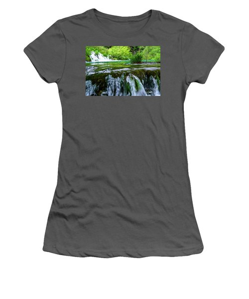 Close Up Waterfalls - Plitvice Lakes National Park, Croatia Women's T-Shirt (Athletic Fit)