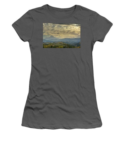Clouds And Sun Rays Over Mount Hood And Hood River Oregon Women's T-Shirt (Athletic Fit)