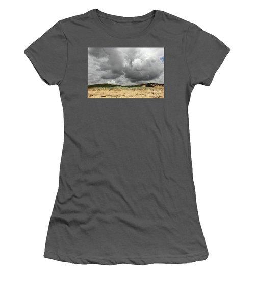 Women's T-Shirt (Junior Cut) featuring the photograph Cloudy Beach II By Kaye Menner by Kaye Menner