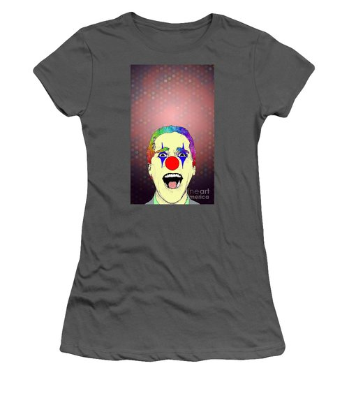 Women's T-Shirt (Junior Cut) featuring the drawing clown Christian Bale by Jason Tricktop Matthews