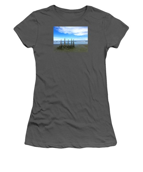 Cocoa Beach Sandcastles Women's T-Shirt (Junior Cut) by Amelia Racca