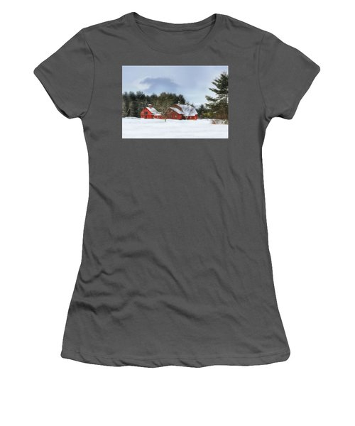 Women's T-Shirt (Junior Cut) featuring the digital art Cold Winter Days In Vermont by Sharon Batdorf