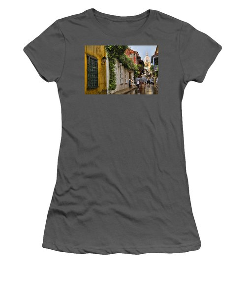 Colonial Buildings In Old Cartagena Colombia Women's T-Shirt (Athletic Fit)