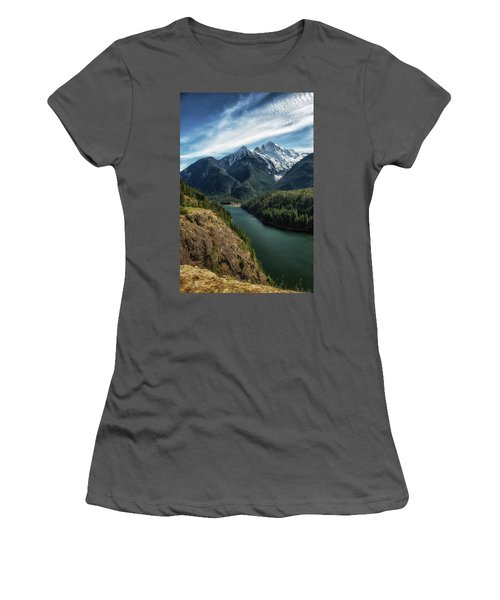 Colonial Peak Towers Over Diablo Lake Women's T-Shirt (Athletic Fit)