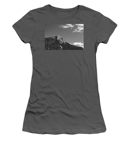Women's T-Shirt (Junior Cut) featuring the photograph Colorado Buffalo Rock With Waxing Crescent Moon In Bw by James BO Insogna