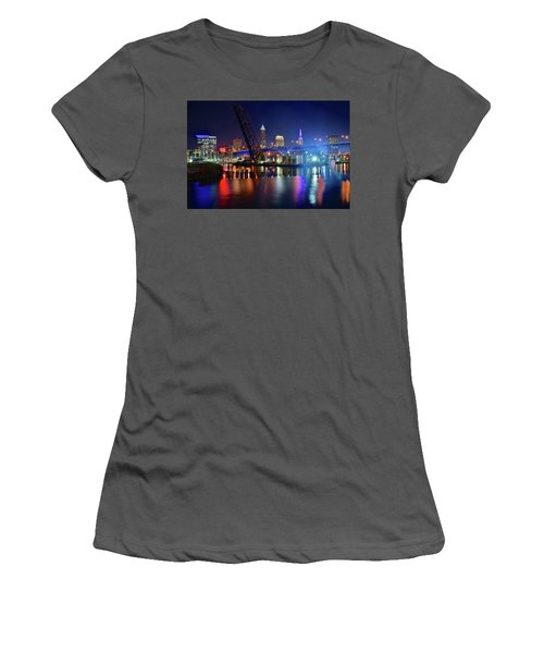 Women's T-Shirt (Junior Cut) featuring the photograph Colorful Cleveland Lights Shimmer Bright by Frozen in Time Fine Art Photography
