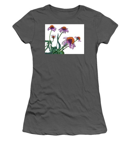 Cone Flowers Women's T-Shirt (Junior Cut) by Jamie Downs