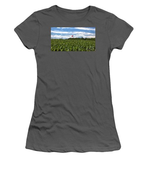 Confederate Flag In Tobacco Field Women's T-Shirt (Athletic Fit)