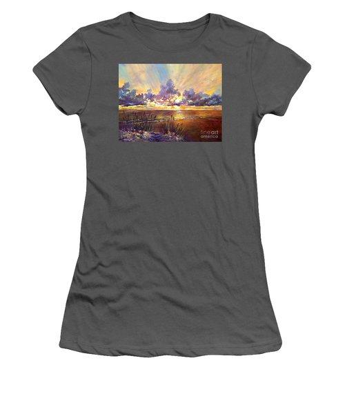 Coquina Beach Sunset Women's T-Shirt (Junior Cut) by Lou Ann Bagnall