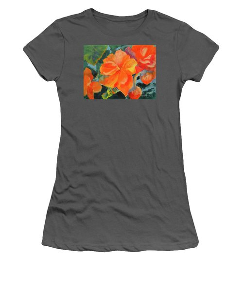Women's T-Shirt (Junior Cut) featuring the painting Coral Begonias by Kathy Braud
