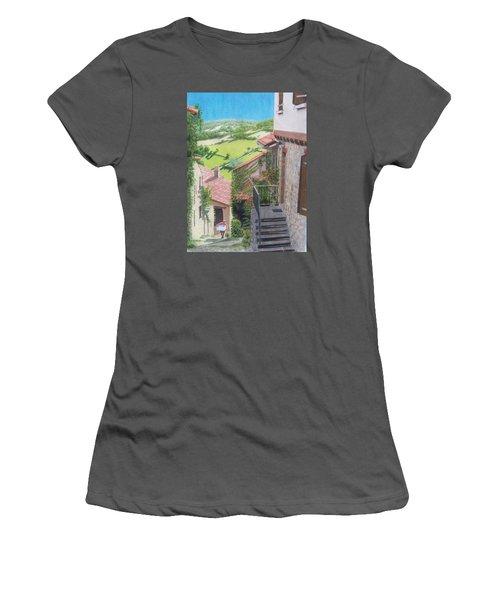 Women's T-Shirt (Junior Cut) featuring the mixed media Cordes Sur Ciel 2 by Constance DRESCHER