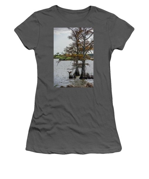 Women's T-Shirt (Junior Cut) featuring the photograph Cormorant by Paul Freidlund