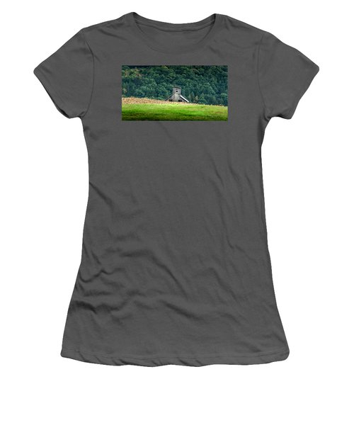 Women's T-Shirt (Junior Cut) featuring the photograph Corn Field Silo by Marvin Spates
