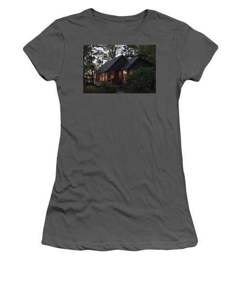 Women's T-Shirt (Athletic Fit) featuring the photograph Cosy Cabin In The Woods by Gary Eason