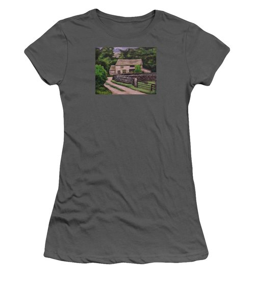 Women's T-Shirt (Junior Cut) featuring the painting Cottage Road by Ron Richard Baviello