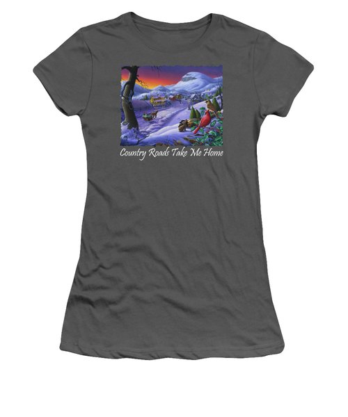 Country Roads Take Me Home T Shirt - Small Town Winter Landscape With Cardinals 2 - Americana Women's T-Shirt (Athletic Fit)