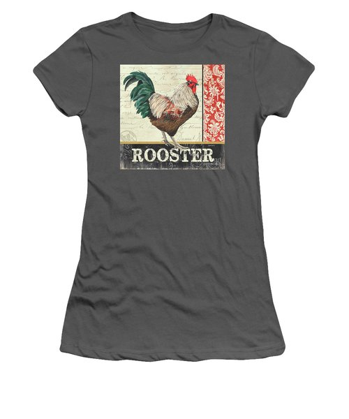 Women's T-Shirt (Junior Cut) featuring the painting Country Rooster 1 by Debbie DeWitt