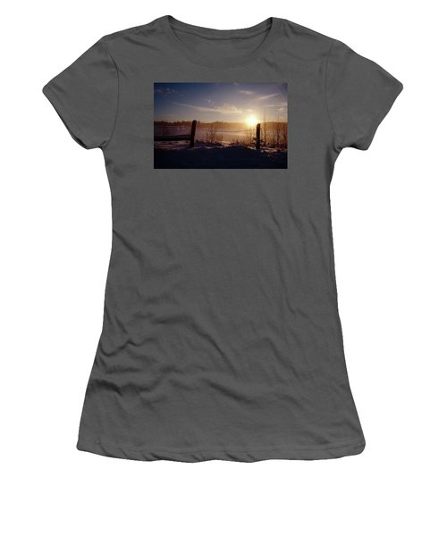 Country Winter Sunset Women's T-Shirt (Athletic Fit)