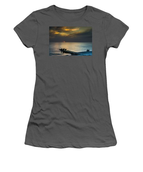 Women's T-Shirt (Junior Cut) featuring the photograph Couple Watching Sunset by John Williams