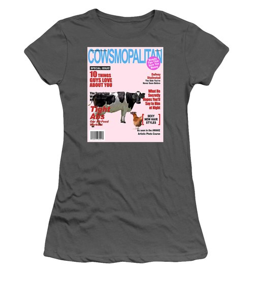 Women's T-Shirt (Junior Cut) featuring the photograph Cow Poster by James Bethanis