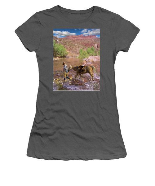 Cowboy And Horse Women's T-Shirt (Athletic Fit)