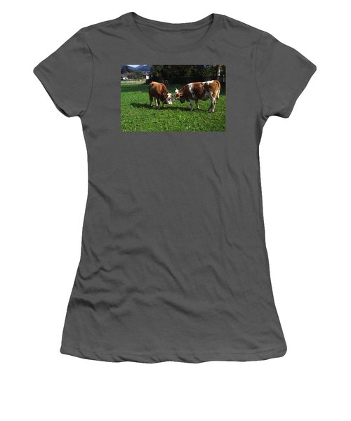 Cows Nuzzling Women's T-Shirt (Junior Cut) by Sally Weigand