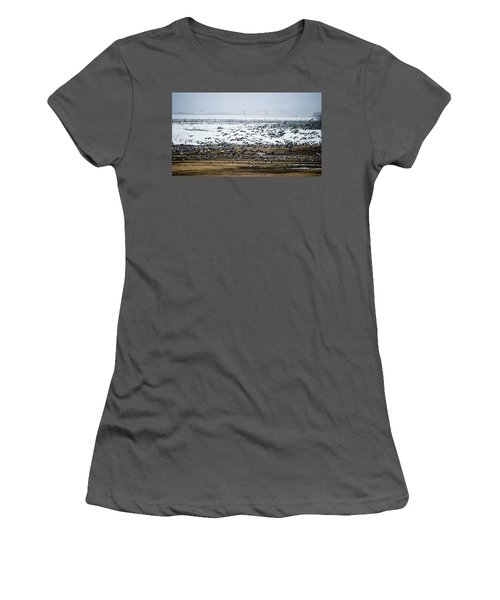 Women's T-Shirt (Junior Cut) featuring the photograph Crane Dance by Torbjorn Swenelius
