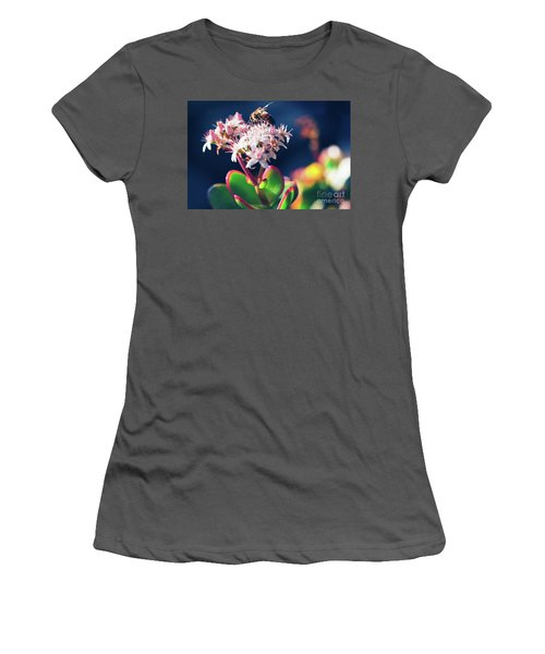 Women's T-Shirt (Junior Cut) featuring the photograph Crassula Ovata Flowers And Honey Bee by Sharon Mau